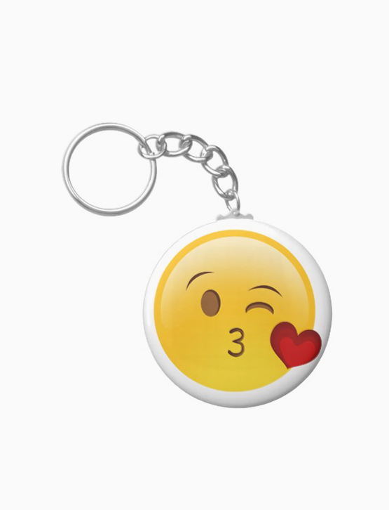 Blow a kiss emoji sticker keychain
